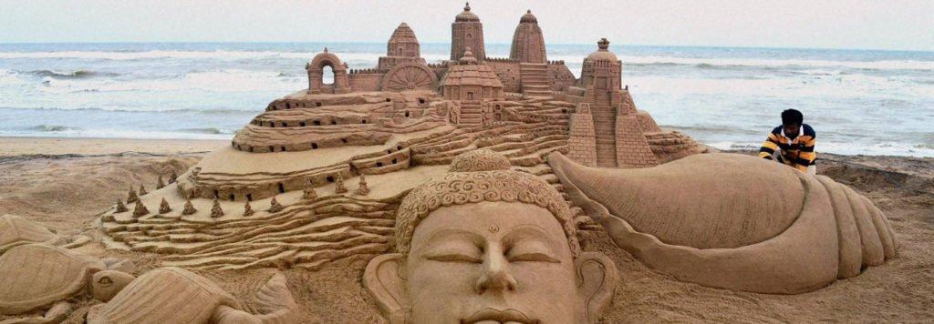 chandrabhaga sea beach sand art festival