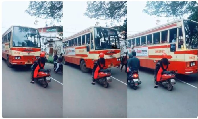 Kerala Woman Stops Scooty In Front Of Bus